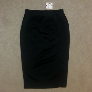 Knee Length Black Pencil Skirt w/ Side Slit